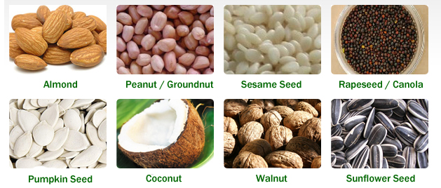 seeds and nuts for manunal oil press to process